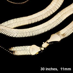 "Gold 30"" Superflex 11mm Herringbone Necklace"